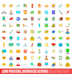 100 postal service icons set cartoon style vector image