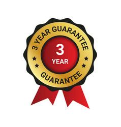 3 year guarantee badge label extended warranty vector