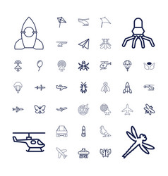 37 fly icons vector
