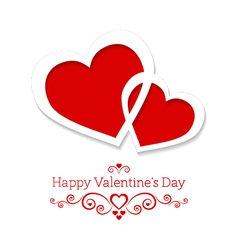 abstract card for Valentines Day with two hearts vector image