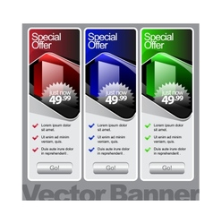 abstract shiny glass banner red green blue vector image