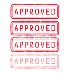 Approved stamp red rectangular impress vector
