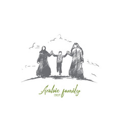 arabic family concept hand drawn isolated vector image