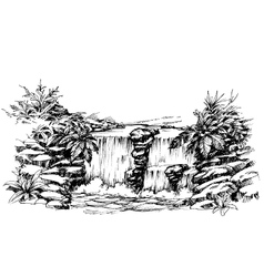 Artistic sketch of waterfall vector