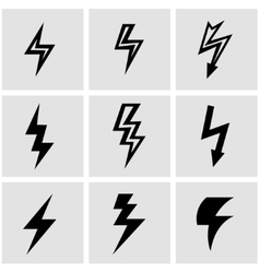 Black lightning icon set vector