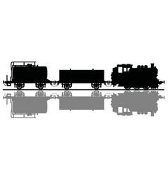 black silhouette a claaasic freight steam train vector image