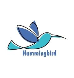 Blue soaring hummingbird or colibri symbol vector image