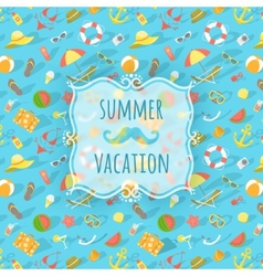Blurred label on summer beach background vector image