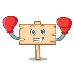 Boxing wooden board character cartoon vector