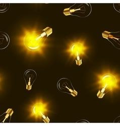 Bright lighting bulbs with golden light vector