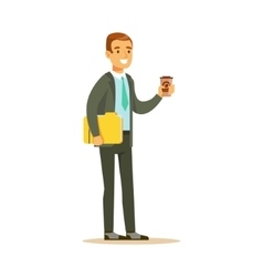 Businessman With Coffee And Papers Business vector