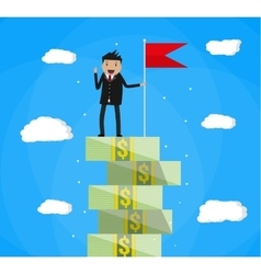 businessman with flag standing on money stairs vector image