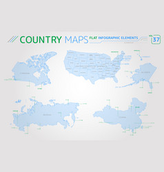 canada russia china and united states america vector image