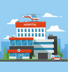 cartoon hospital building emergency clinic vector image