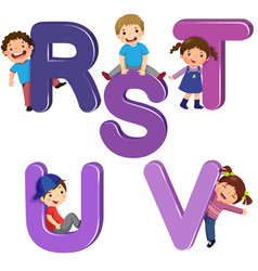 Cartoon kids with rstuv letters vector