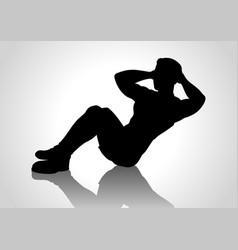 cartoon silhouette of a man doing sit up vector image