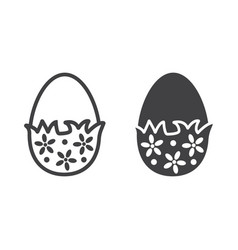 chocolate egg with wrapper line and glyph vector image