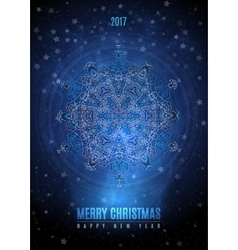 Christmas background with big vintage blue gold vector