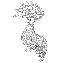 Coloring page with Bird zentangle vector image