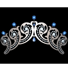 Diadem with diamonds and sapphires vector image