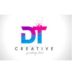 Dt d t letter logo with shattered broken blue vector