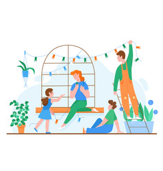 Family spend time at home together concept vector