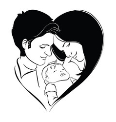 family with baby father and mother hug their vector image