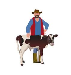 Farmer with a calf vector
