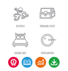 fertilization double bed and octopus icons vector image