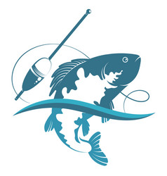 Fish on wave and fishing float vector