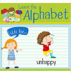 Flashcard letter U is for unhappy vector