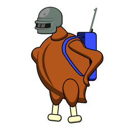 flat character chicken in helmet vector image