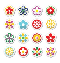 Flower head icons set vector image