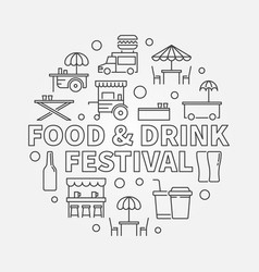 Food and drink festival round concept linear vector
