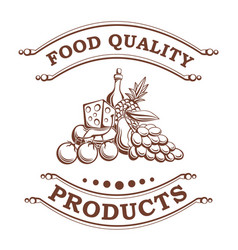 Food quality products retro card for your label vector