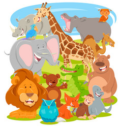 funny comic animal characters group vector image