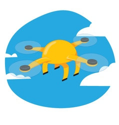 Funny yellow drone flying on a blue sky background vector image