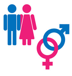 Gender symbol set male female girl boy woman man vector