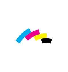 geometric printing logo cmyk icon symbol design vector image