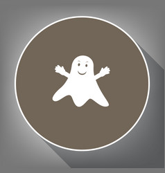 ghost sign white icon on brown circle vector image