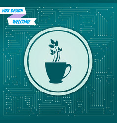 Green tea icon on a background with arrows in vector