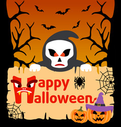 halloween background card with scytheman vector image