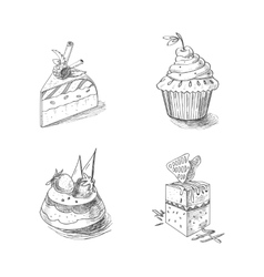 Hand drawn confections dessert pastry bakery vector