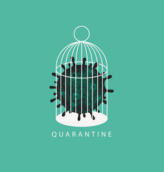 Hand drawn covid-19 virion locked in a cage vector