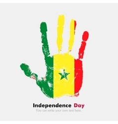 Handprint with the Flag of Senegal in grunge style vector