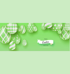 happy easter creative banner with three vector image
