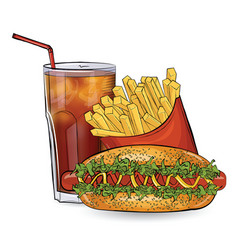 Hot dog free and drink in the sketch style on the vector