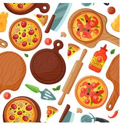 hot fresh pizza banner seamless pattern icon food vector image
