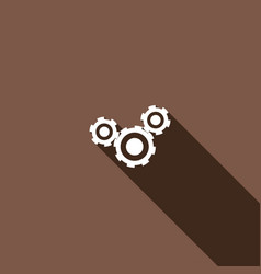 icon cogs with a long shadow vector image