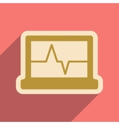 Icon of ECG machine in flat style vector